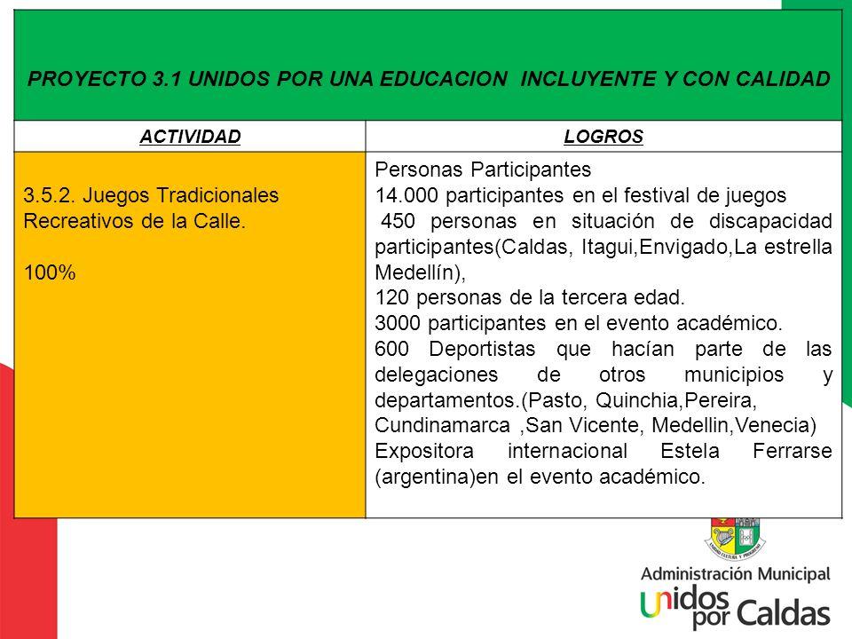 PROYECTO 3.1 UNIDOS POR UNA EDUCACION INCLUYENTE Y CON CALIDAD ACTIVIDADLOGROS 3.5.2. Juegos Tradicionales Recreativos de la Calle. 100% Personas Part