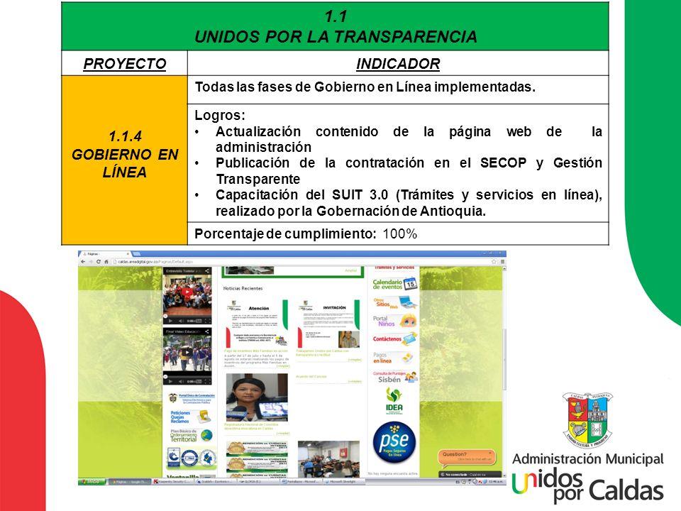 1.1 UNIDOS POR LA TRANSPARENCIA PROYECTOINDICADOR 1.1.4 GOBIERNO EN LÍNEA Todas las fases de Gobierno en Línea implementadas. Logros: Actualización co