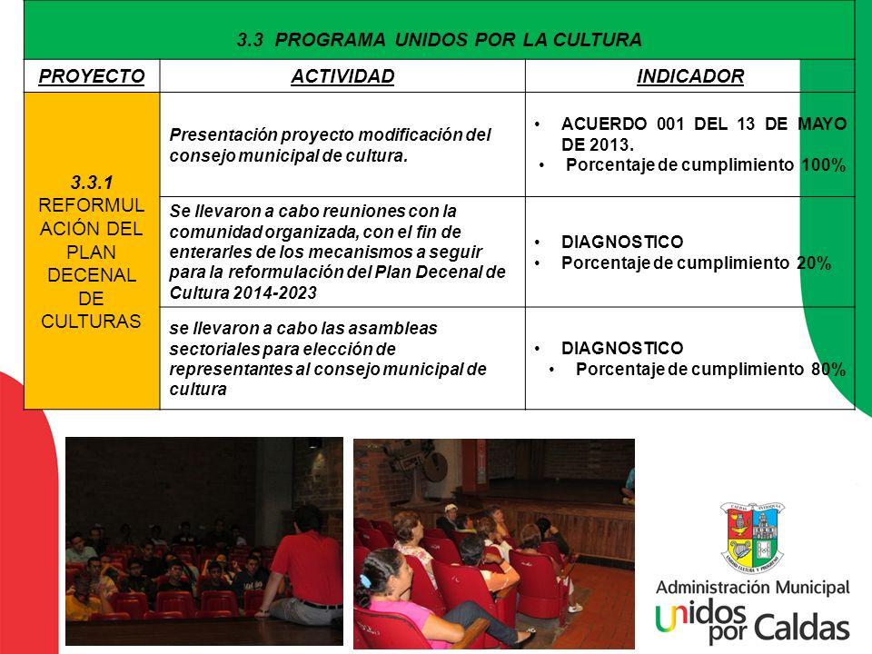 3.3 PROGRAMA UNIDOS POR LA CULTURA PROYECTOACTIVIDADINDICADOR 3.3.1 REFORMUL ACIÓN DEL PLAN DECENAL DE CULTURAS Presentación proyecto modificación del