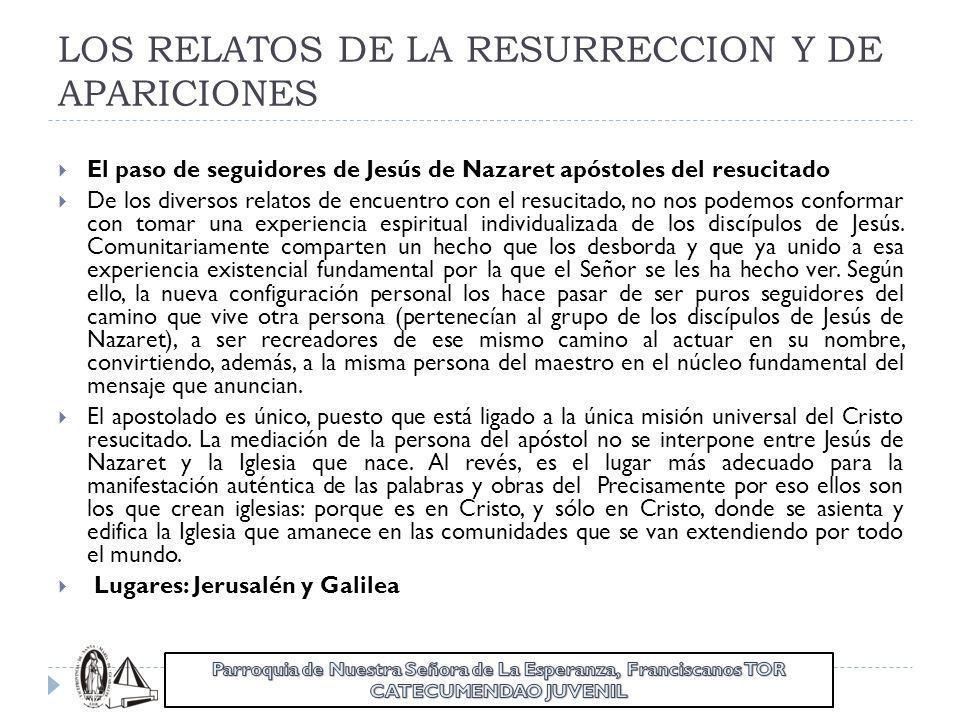 LOS RELATOS DE LA RESURRECCION Y DE APARICIONES El paso de seguidores de Jesús de Nazaret apóstoles del resucitado De los diversos relatos de encuentr