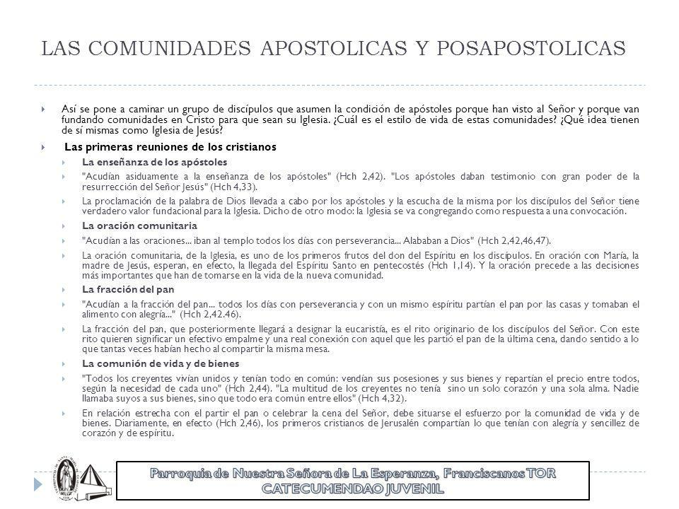 LAS COMUNIDADES APOSTOLICAS Y POSAPOSTOLICAS Así se pone a caminar un grupo de discípulos que asumen la condición de apóstoles porque han visto al Señ