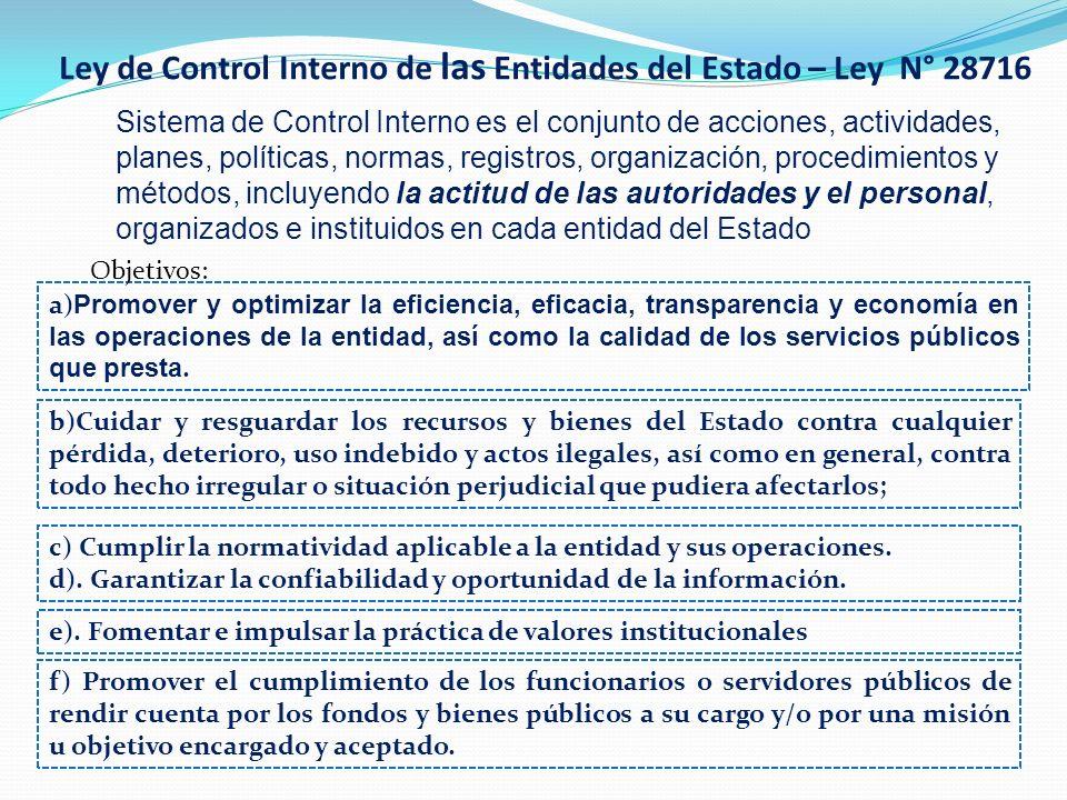 Ley de Control Interno de las Entidades del Estado – Ley N° 28716 Sistema de Control Interno es el conjunto de acciones, actividades, planes, política