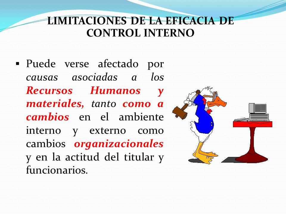 LIMITACIONES DE LA EFICACIA DE CONTROL INTERNO Puede verse afectado por causas asociadas a los Recursos Humanos y materiales, tanto como a cambios en