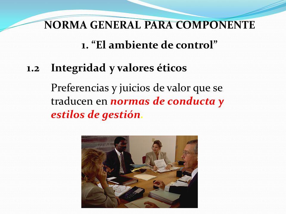 NORMA GENERAL PARA COMPONENTE 1. El ambiente de control 1.2Integridad y valores éticos Preferencias y juicios de valor que se traducen en normas de co
