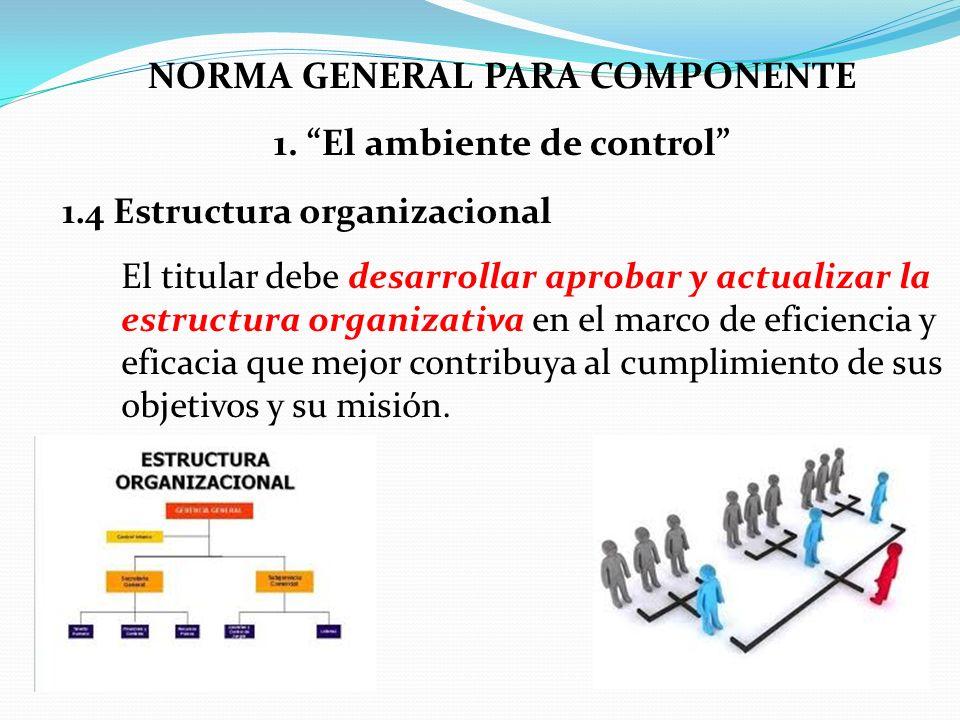 NORMA GENERAL PARA COMPONENTE 1. El ambiente de control 1.4 Estructura organizacional El titular debe desarrollar aprobar y actualizar la estructura o