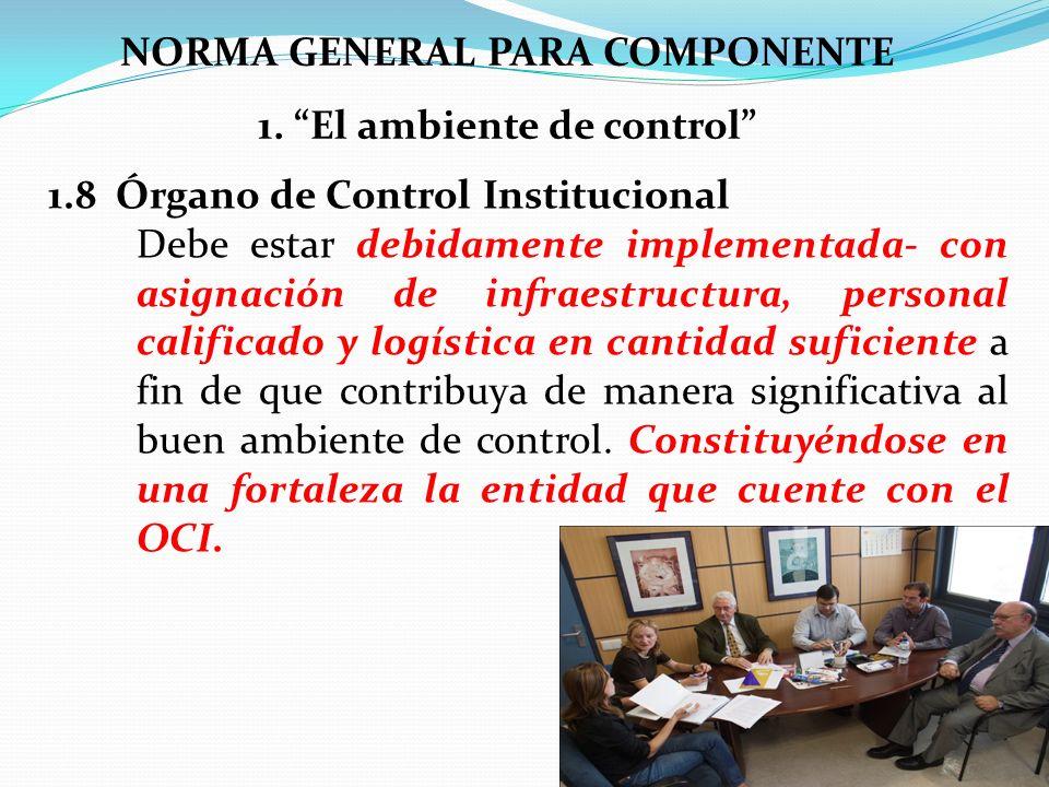 NORMA GENERAL PARA COMPONENTE 1. El ambiente de control 1.8 Órgano de Control Institucional Debe estar debidamente implementada- con asignación de inf