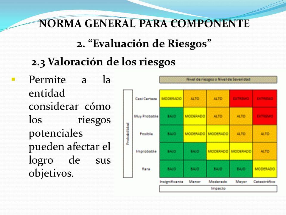 NORMA GENERAL PARA COMPONENTE 2. Evaluación de Riesgos Permite a la entidad considerar cómo los riesgos potenciales pueden afectar el logro de sus obj