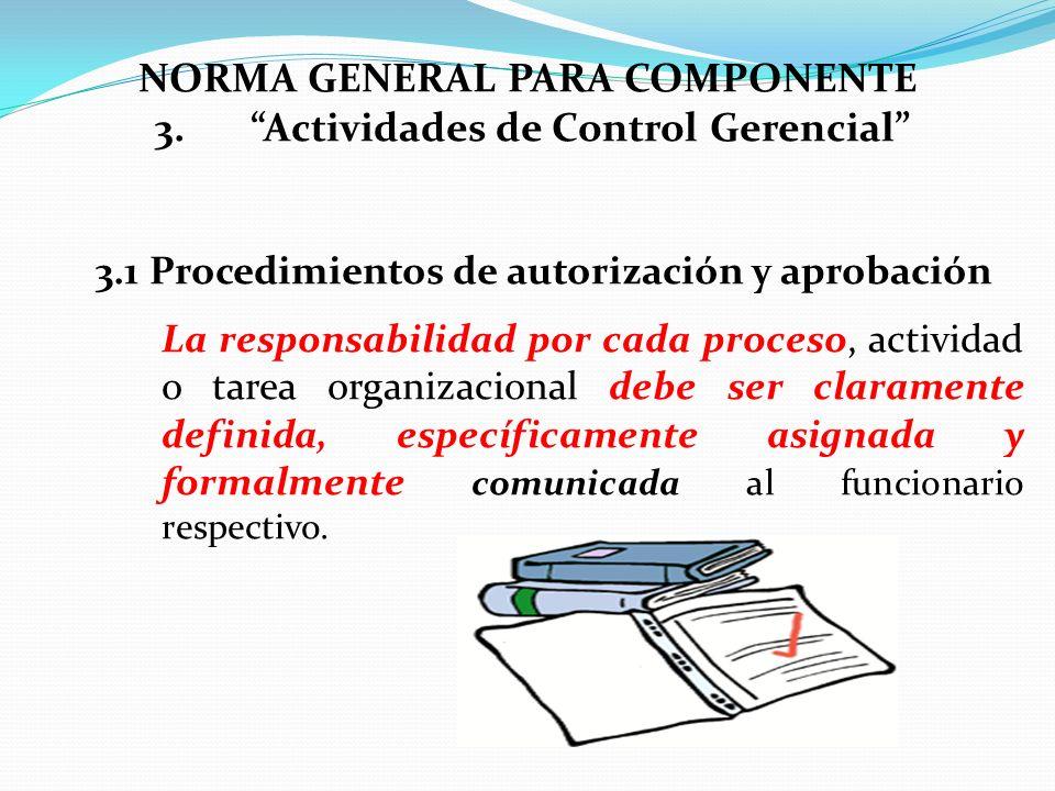 3.1 Procedimientos de autorización y aprobación La responsabilidad por cada proceso, actividad o tarea organizacional debe ser claramente definida, es