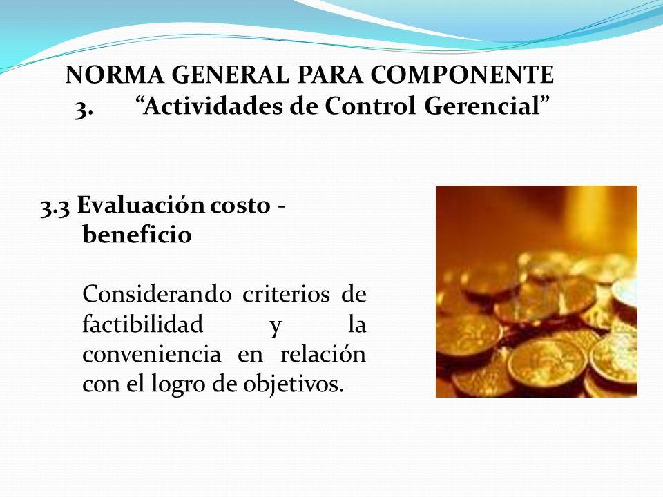 3.3 Evaluación costo - beneficio Considerando criterios de factibilidad y la conveniencia en relación con el logro de objetivos. NORMA GENERAL PARA CO