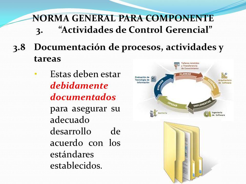 Estas deben estar debidamente documentados para asegurar su adecuado desarrollo de acuerdo con los estándares establecidos. 3.8Documentación de proces