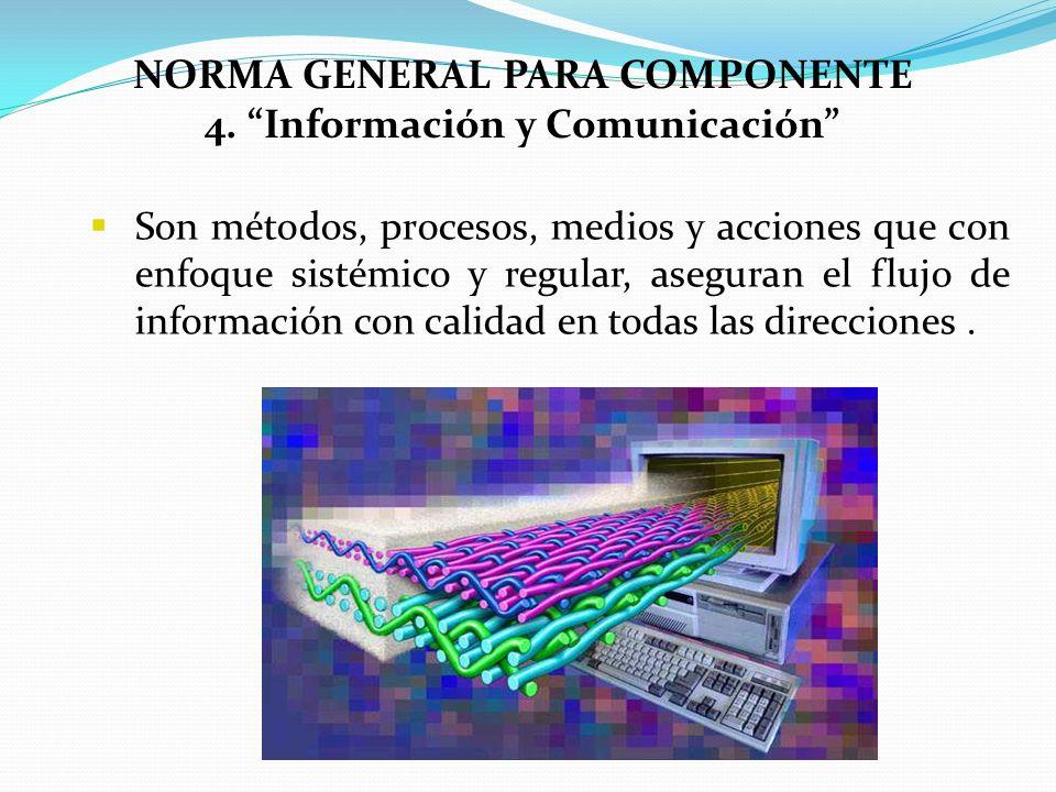 NORMA GENERAL PARA COMPONENTE 4. Información y Comunicación Son métodos, procesos, medios y acciones que con enfoque sistémico y regular, aseguran el