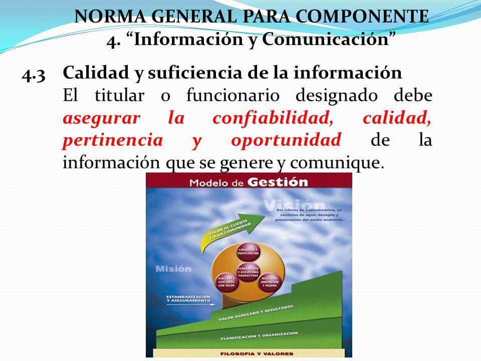 NORMA GENERAL PARA COMPONENTE 4. Información y Comunicación 4.3 Calidad y suficiencia de la información El titular o funcionario designado debe asegur