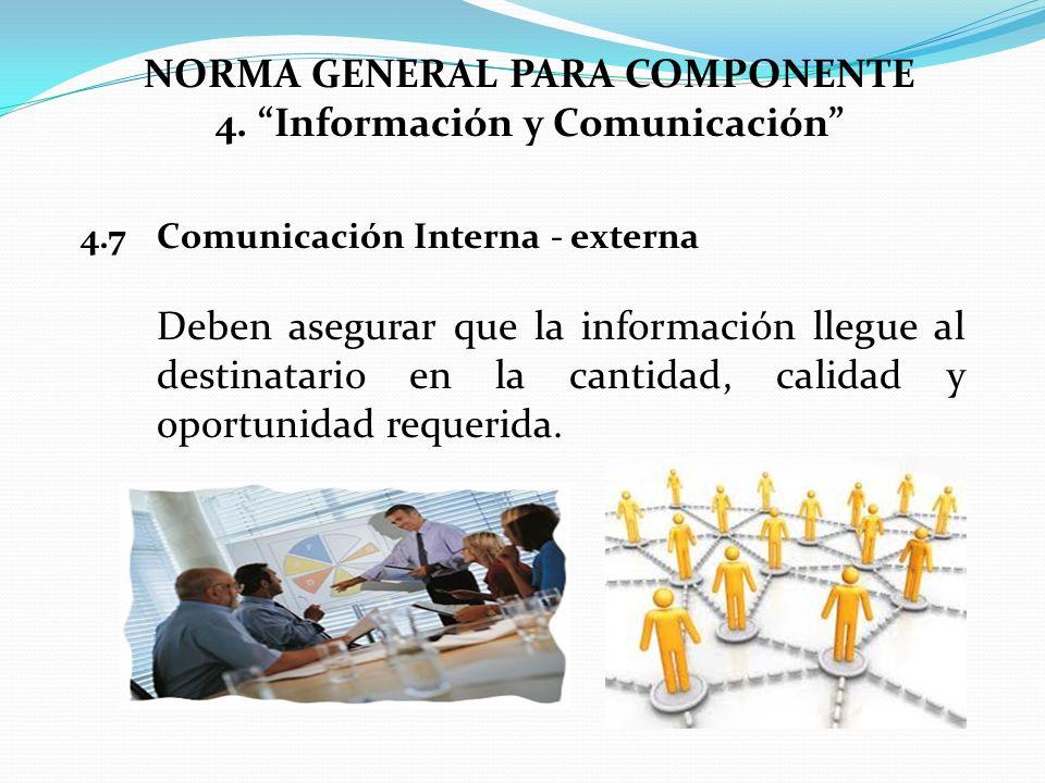 NORMA GENERAL PARA COMPONENTE 4. Información y Comunicación 4.7Comunicación Interna - externa Deben asegurar que la información llegue al destinatario