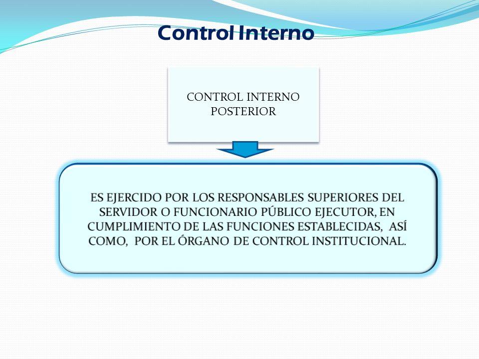 CONTROL INTERNO POSTERIOR Control Interno