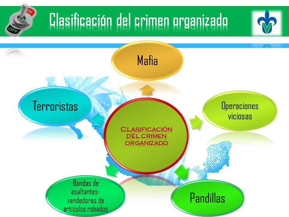 Mafia Operaciones viciosas Pandillas Bandas de asaltantes- vendedores de artículos robados Terroristas