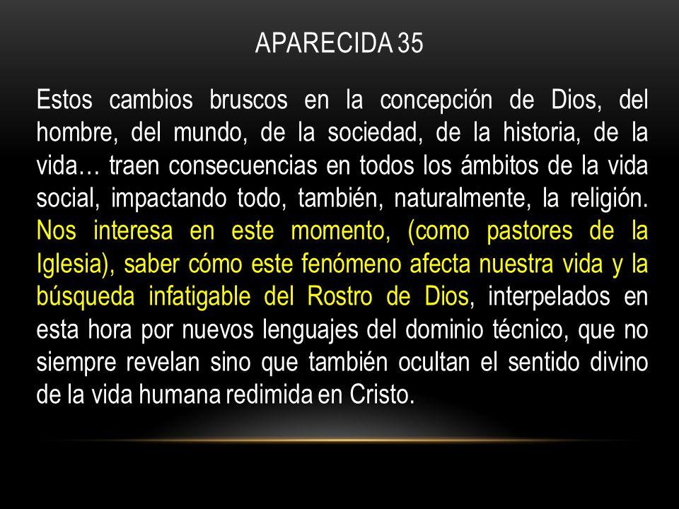APARECIDA 35 Estos cambios bruscos en la concepción de Dios, del hombre, del mundo, de la sociedad, de la historia, de la vida… traen consecuencias en todos los ámbitos de la vida social, impactando todo, también, naturalmente, la religión.