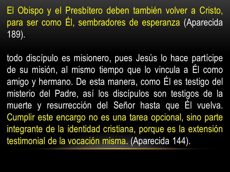 El Obispo y el Presbítero deben también volver a Cristo, para ser como Él, sembradores de esperanza (Aparecida 189).