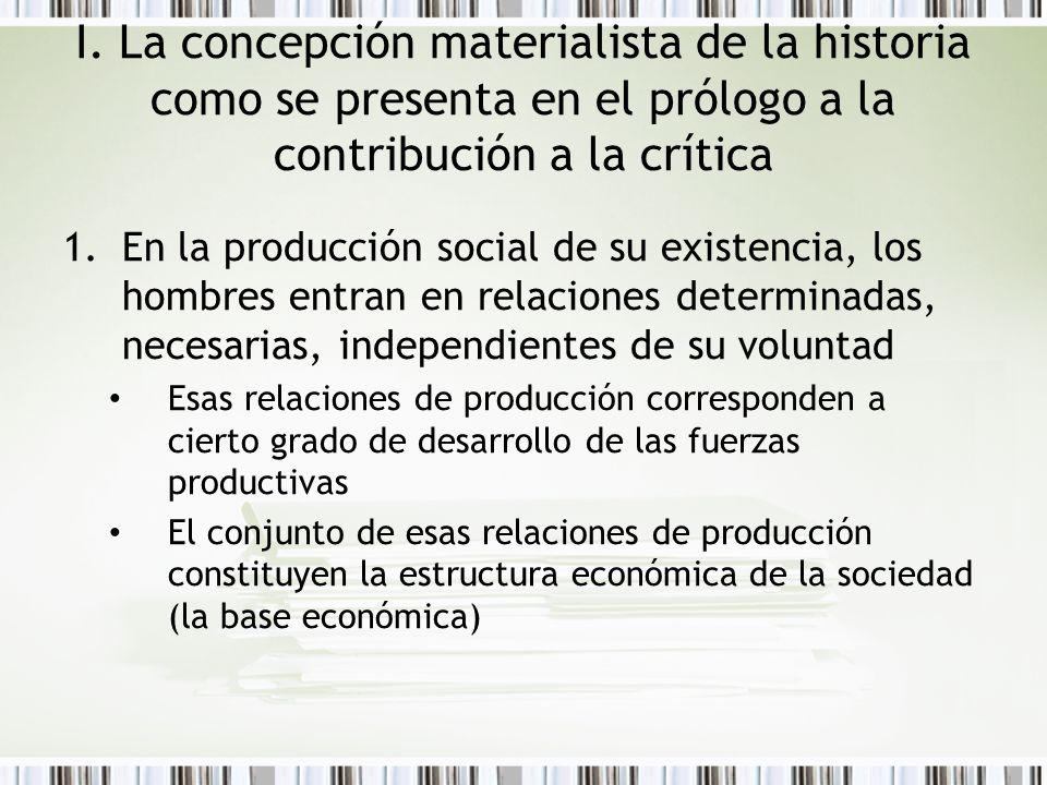 I. La concepción materialista de la historia como se presenta en el prólogo a la contribución a la crítica 1.En la producción social de su existencia,