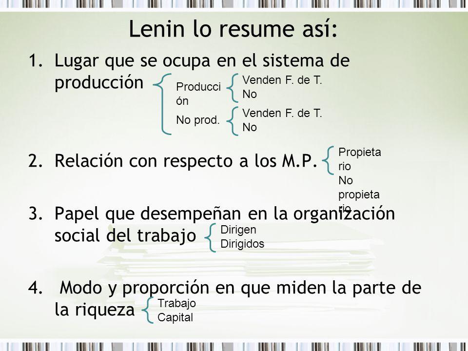 Lenin lo resume así: 1.Lugar que se ocupa en el sistema de producción 2.Relación con respecto a los M.P. 3.Papel que desempeñan en la organización soc
