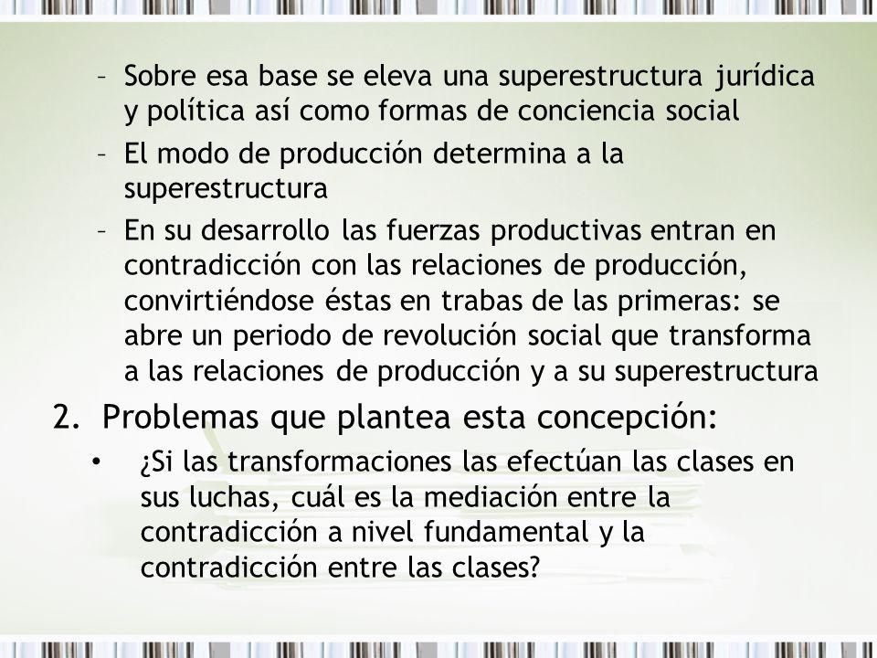 –Sobre esa base se eleva una superestructura jurídica y política así como formas de conciencia social –El modo de producción determina a la superestru