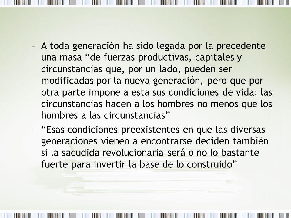 –A toda generación ha sido legada por la precedente una masa de fuerzas productivas, capitales y circunstancias que, por un lado, pueden ser modificad