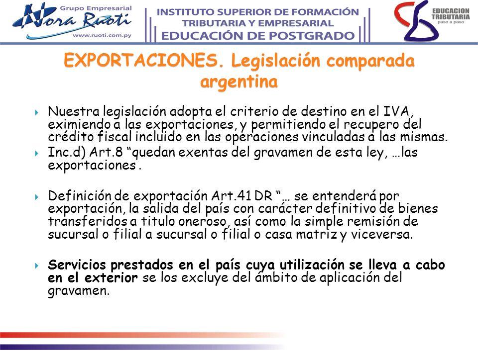 EXPORTACIONES. Legislación comparada argentina Nuestra legislación adopta el criterio de destino en el IVA, eximiendo a las exportaciones, y permitien