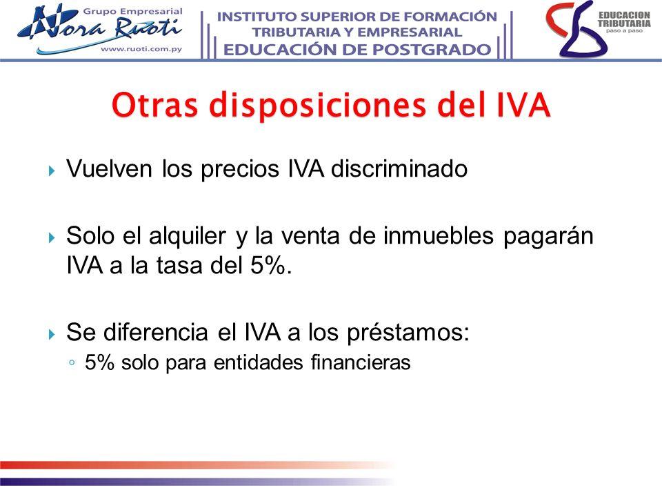 Vuelven los precios IVA discriminado Solo el alquiler y la venta de inmuebles pagarán IVA a la tasa del 5%. Se diferencia el IVA a los préstamos: 5% s