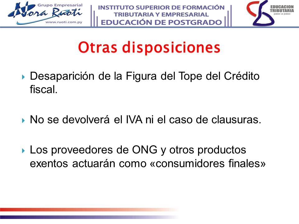 Desaparición de la Figura del Tope del Crédito fiscal. No se devolverá el IVA ni el caso de clausuras. Los proveedores de ONG y otros productos exento