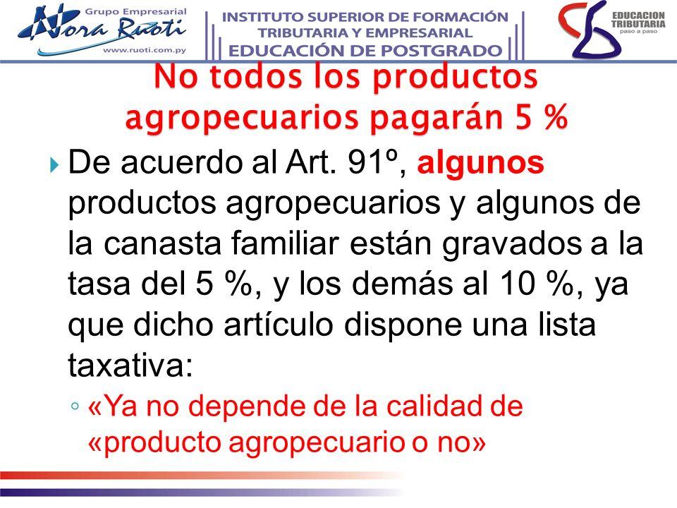 No todos los productos agropecuarios pagarán 5 % De acuerdo al Art. 91º, algunos productos agropecuarios y algunos de la canasta familiar están gravad