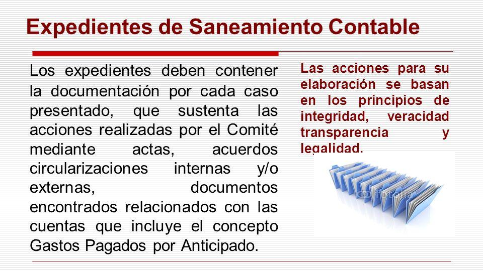 Expedientes de Saneamiento Contable Los expedientes deben contener la documentación por cada caso presentado, que sustenta las acciones realizadas por