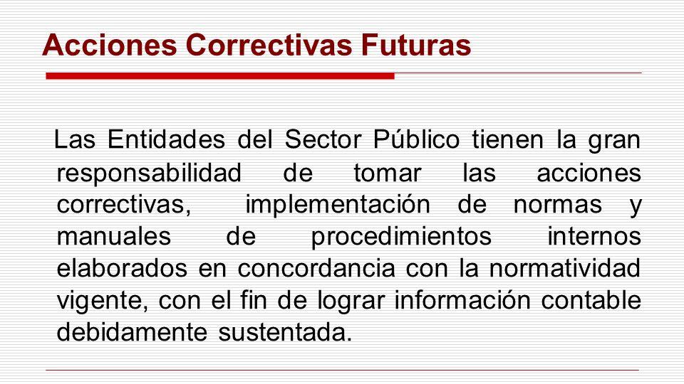 Las Entidades del Sector Público tienen la gran responsabilidad de tomar las acciones correctivas, implementación de normas y manuales de procedimient