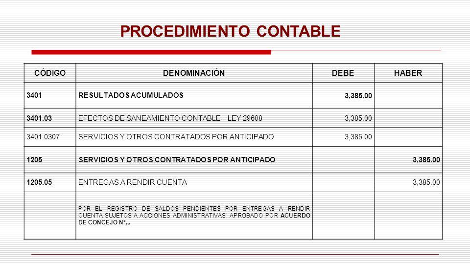 PROCEDIMIENTO CONTABLE CÓDIGODENOMINACIÓNDEBEHABER 3401RESULTADOS ACUMULADOS3,385.00 3401.03EFECTOS DE SANEAMIENTO CONTABLE – LEY 296083,385.00 3401.0