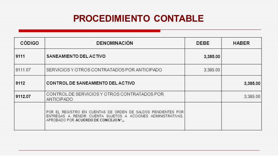 PROCEDIMIENTO CONTABLE CÓDIGODENOMINACIÓNDEBEHABER 9111SANEAMIENTO DEL ACTIVO3,385.00 9111.07SERVICIOS Y OTROS CONTRATADOS POR ANTICIPADO3,385.00 9112