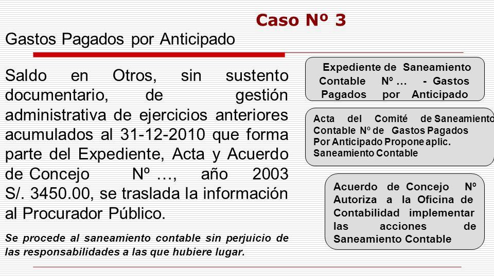 Gastos Pagados por Anticipado Saldo en Otros, sin sustento documentario, de gestión administrativa de ejercicios anteriores acumulados al 31-12-2010 q