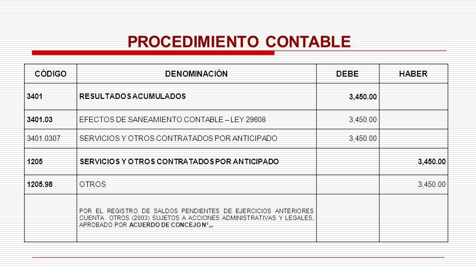PROCEDIMIENTO CONTABLE CÓDIGODENOMINACIÓNDEBEHABER 3401RESULTADOS ACUMULADOS3,450.00 3401.03EFECTOS DE SANEAMIENTO CONTABLE – LEY 296083,450.00 3401.0