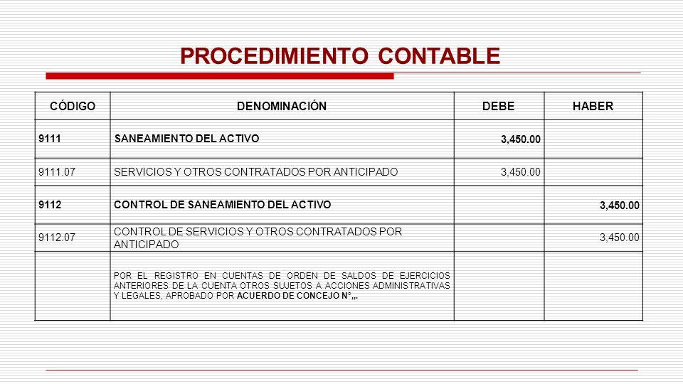 PROCEDIMIENTO CONTABLE CÓDIGODENOMINACIÓNDEBEHABER 9111SANEAMIENTO DEL ACTIVO3,450.00 9111.07SERVICIOS Y OTROS CONTRATADOS POR ANTICIPADO3,450.00 9112