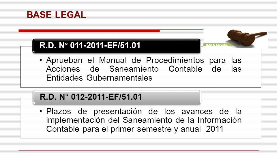 BASE LEGAL Aprueban el Manual de Procedimientos para las Acciones de Saneamiento Contable de las Entidades Gubernamentales R.D. N° 011-2011-EF/51.01 P