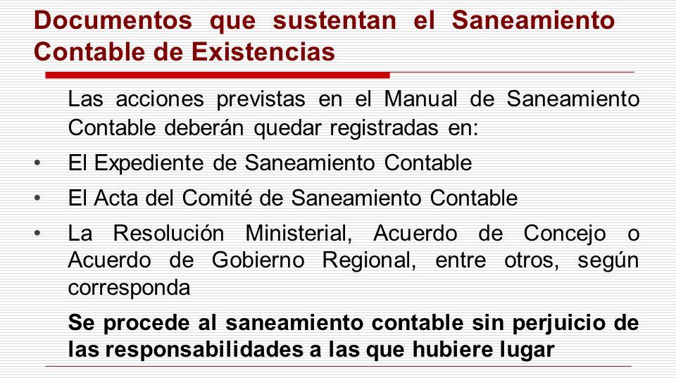 Las acciones previstas en el Manual de Saneamiento Contable deberán quedar registradas en: El Expediente de Saneamiento Contable El Acta del Comité de