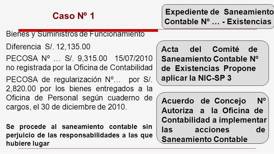 Caso Nº 1 Bienes y Suministros de Funcionamiento Diferencia S/. 12,135.00 PECOSA Nº … S/. 9,315.00 15/07/2010 no registrada por la Oficina de Contabil