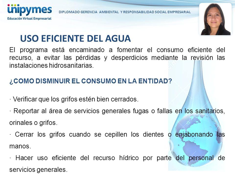DIPLOMADO GERENCIA AMBIENTAL Y RESPONSABILIDAD SOCIAL EMPRESARIAL El programa está encaminado a fomentar el consumo eficiente del recurso, a evitar la