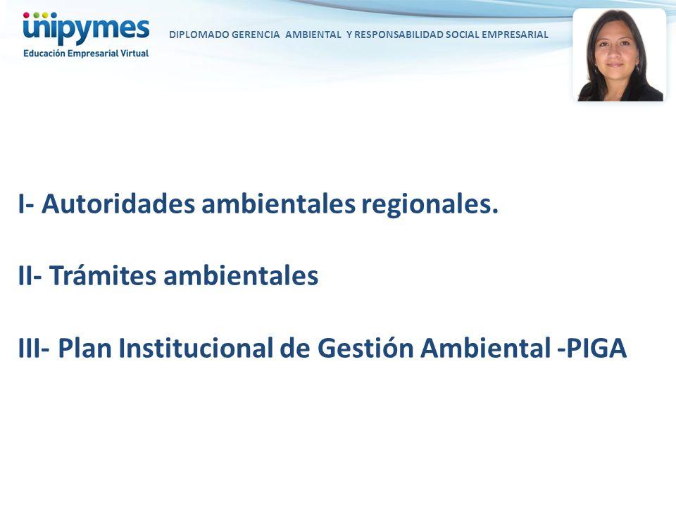 DIPLOMADO GERENCIA AMBIENTAL Y RESPONSABILIDAD SOCIAL EMPRESARIAL I- Autoridades ambientales regionales. II- Trámites ambientales III- Plan Institucio