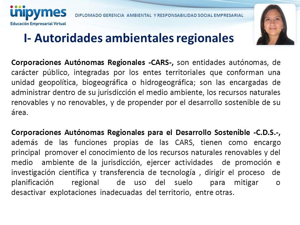DIPLOMADO GERENCIA AMBIENTAL Y RESPONSABILIDAD SOCIAL EMPRESARIAL Corporaciones Autónomas Regionales -CARS-, son entidades autónomas, de carácter públ