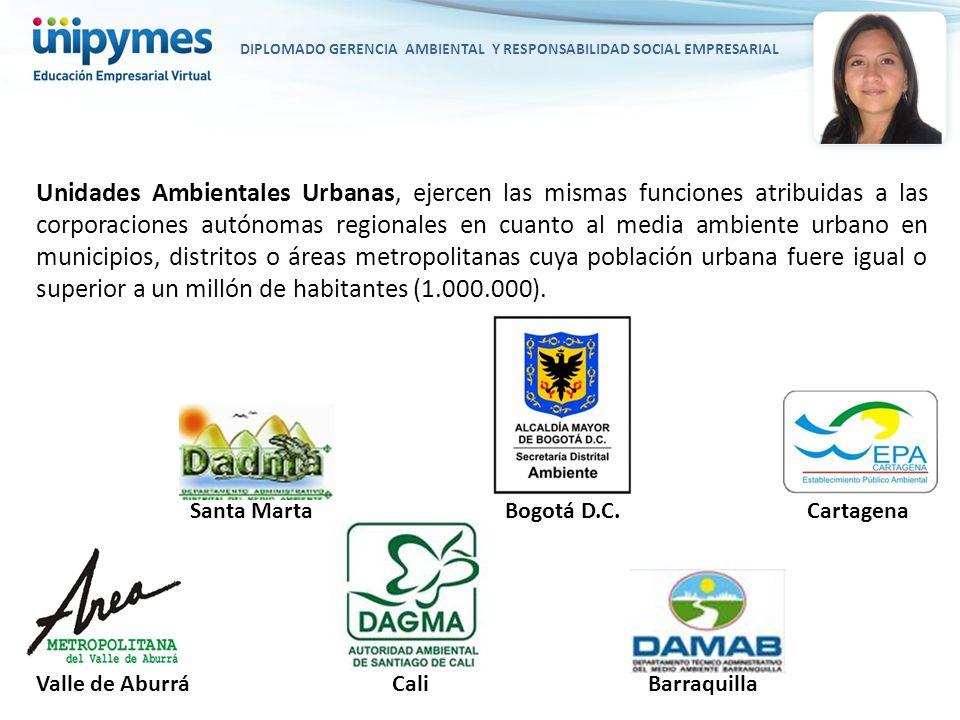 DIPLOMADO GERENCIA AMBIENTAL Y RESPONSABILIDAD SOCIAL EMPRESARIAL Unidades Ambientales Urbanas, ejercen las mismas funciones atribuidas a las corporac