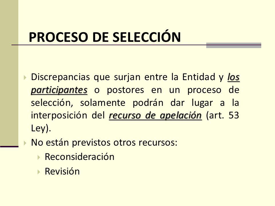 PROCESO DE SELECCIÓN los participantes recurso de apelación Discrepancias que surjan entre la Entidad y los participantes o postores en un proceso de selección, solamente podrán dar lugar a la interposición del recurso de apelación (art.