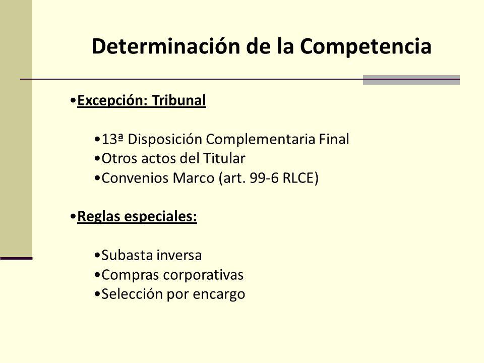 Determinación de la Competencia Excepción: Tribunal 13ª Disposición Complementaria Final Otros actos del Titular Convenios Marco (art.