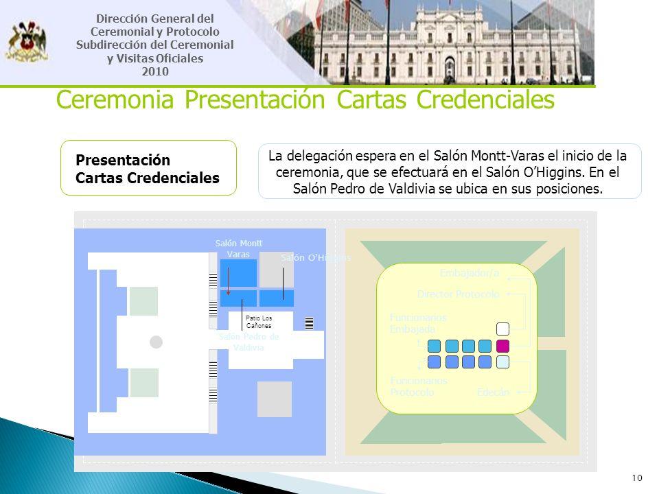 10 Ceremonia Presentación Cartas Credenciales Presentación Cartas Credenciales La delegación espera en el Salón Montt-Varas el inicio de la ceremonia,