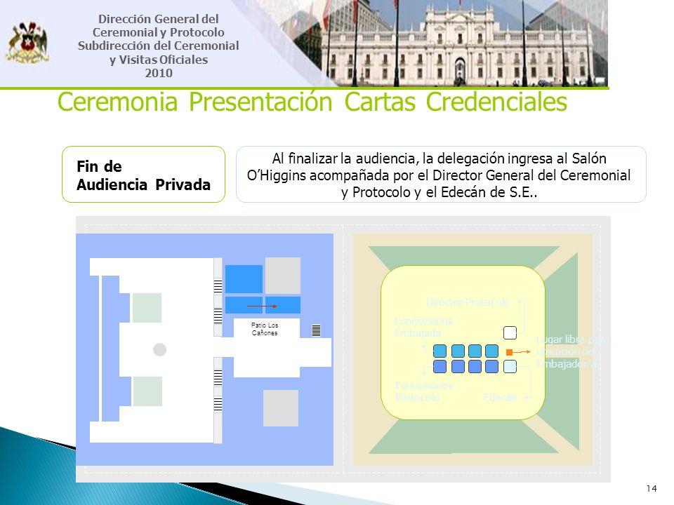 14 Ceremonia Presentación Cartas Credenciales Fin de Audiencia Privada Al finalizar la audiencia, la delegación ingresa al Salón OHiggins acompañada p