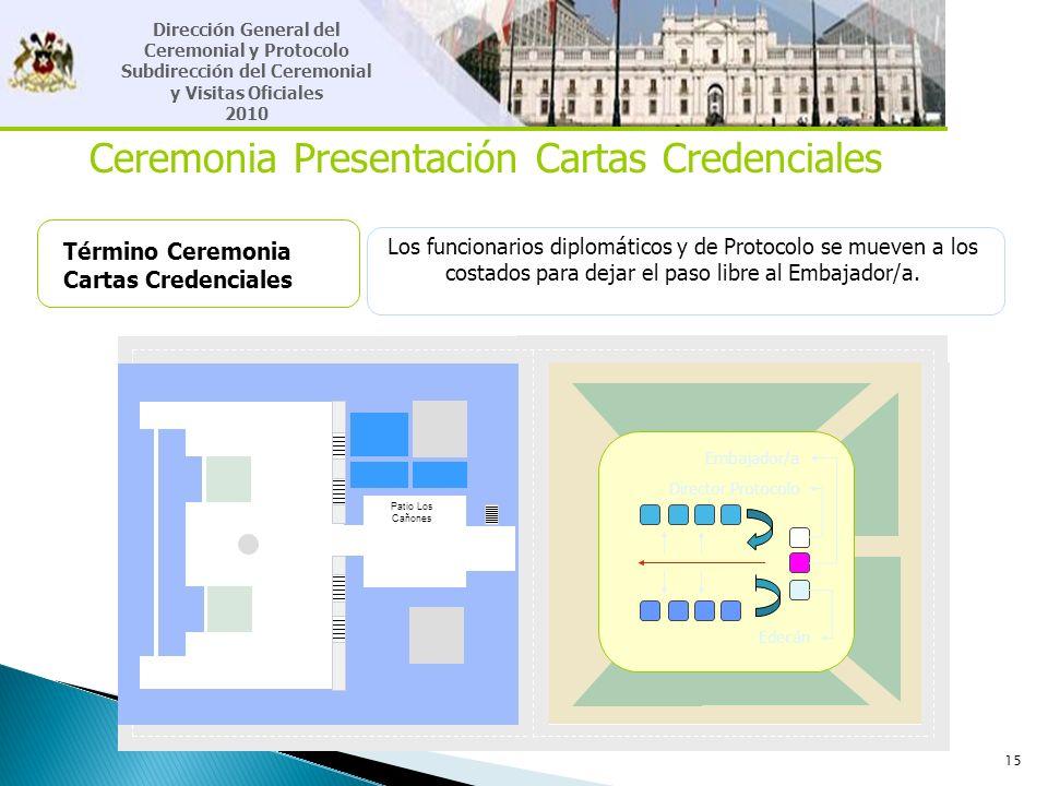 15 Ceremonia Presentación Cartas Credenciales Término Ceremonia Cartas Credenciales Los funcionarios diplomáticos y de Protocolo se mueven a los costa