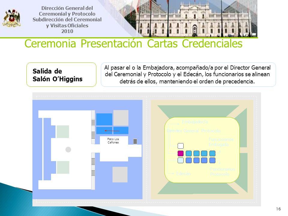 16 Ceremonia Presentación Cartas Credenciales Salida de Salón OHiggins Al pasar el o la Embajadora, acompañado/a por el Director General del Ceremonia