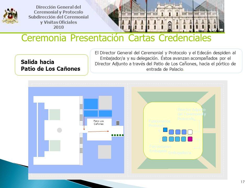 17 Ceremonia Presentación Cartas Credenciales Salida hacia Patio de Los Cañones El Director General del Ceremonial y Protocolo y el Edecán despiden al